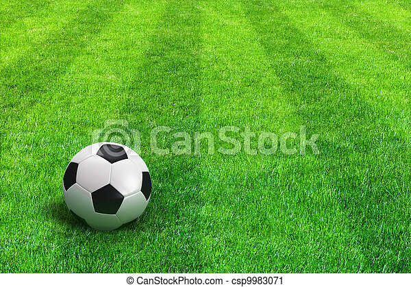 Green striped football field with soccer ball - csp9983071