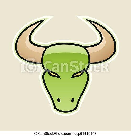 Green Strong Bull Icon Vector Illustration - csp61410143