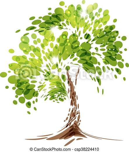 Green stylized vector tree - csp38224410