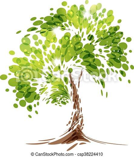 Green stylized vector tree - csp38224410