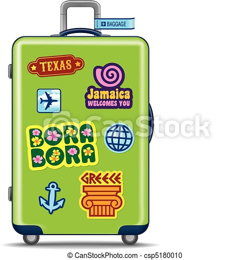green suitcase for travel with travel stickers vector illustration
