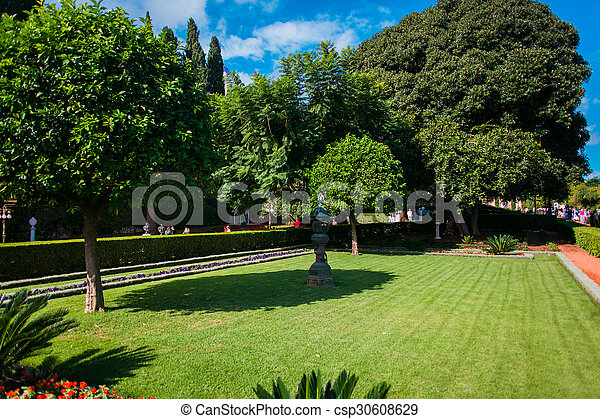 Green sunny garden near big king palace stock photo - Search ...