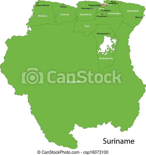 Green suriname map Administrative divisions of suriname vector