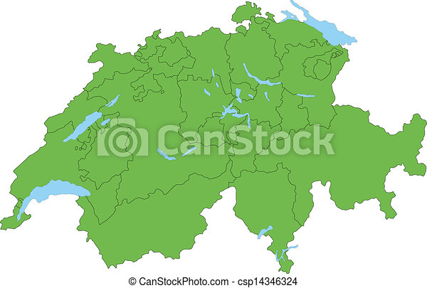 Green Switzerland map - csp14346324