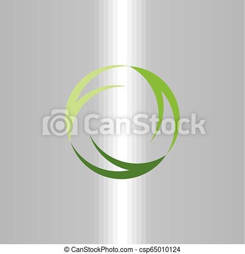 green symbol recycle logo ecology vector sign icon design - csp65010124