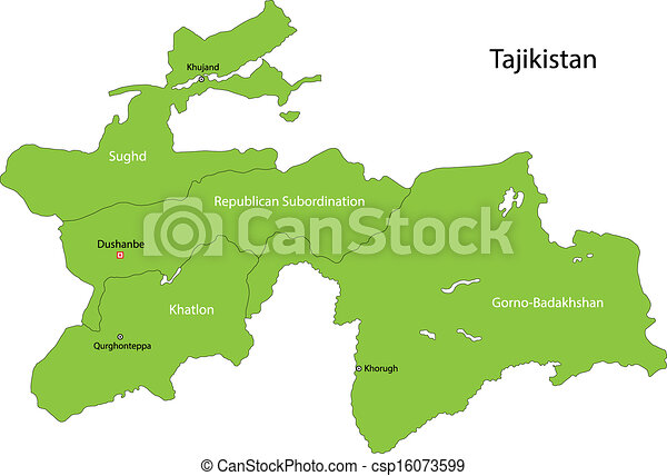 Green Tajikistan Map Map Of Administrative Divisions Of Eps - Tajikistan map vector