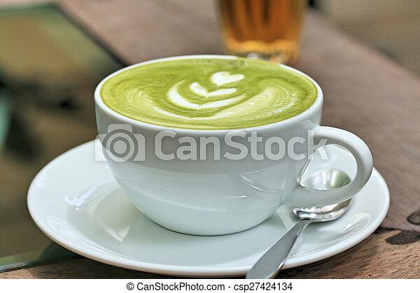 Green tea and milk - csp27424134
