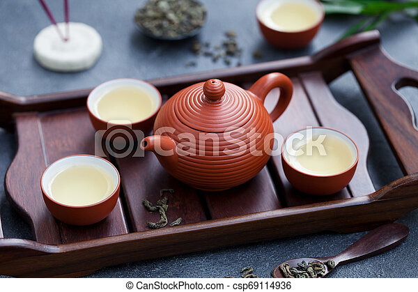 Green tea in tea pot and bowls, cups on wooden tray. Close up. - csp69114936