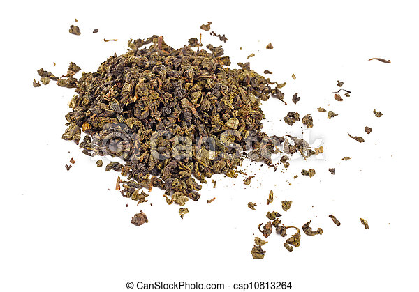 Green tea isolated on white background - csp10813264