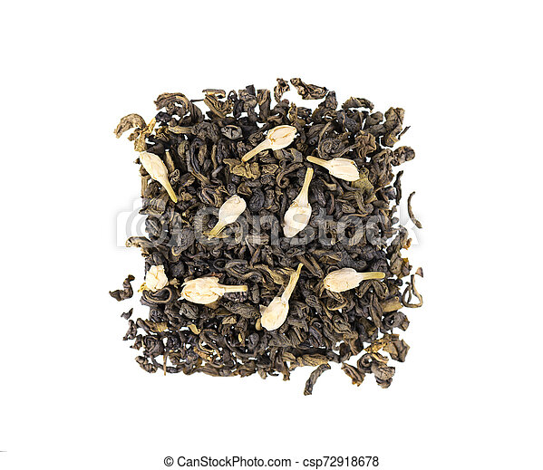Green tea with jasmine, isolated on white background. Aromatic green dry tea, close up. Top view. - csp72918678