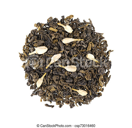 Green tea with jasmine, isolated on white background. Aromatic green dry tea, close up. Top view. - csp73016460