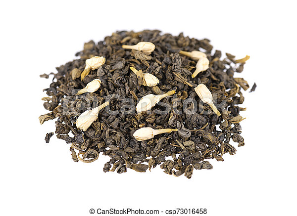 Green tea with jasmine, isolated on white background. Aromatic green dry tea, close up. - csp73016458