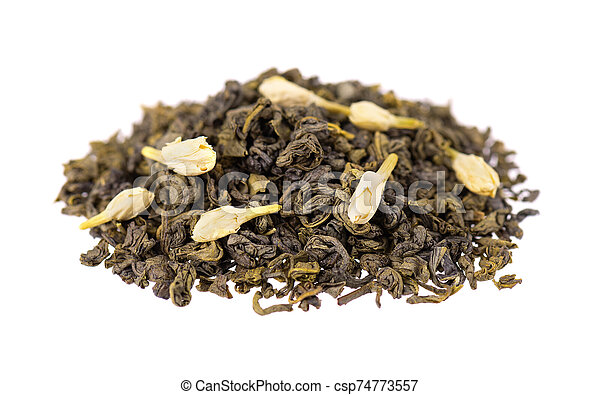 Green tea with jasmine, isolated on white background. Aromatic green dry tea, close up. - csp74773557