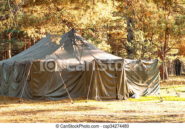 camping in the woods. Green Tent, Camping, Woods - Csp34274480 Camping In The