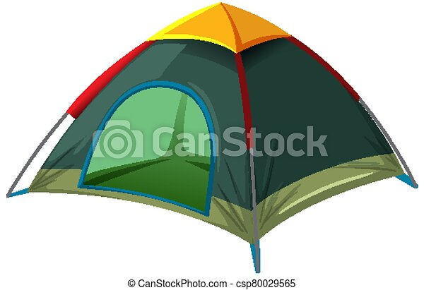 Green tent on white background - csp80029565