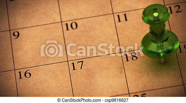 Green thumbtack onto a schedule made with recycled brown paper. Pushpin pointed on number 18. Appointment on a calendar, room for text on the left side of the memo - csp9816627