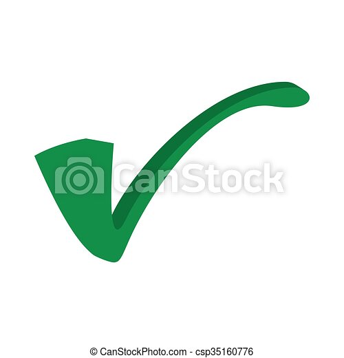 Green Tick Check Mark Icon Cartoon Style Green Tick Check Mark