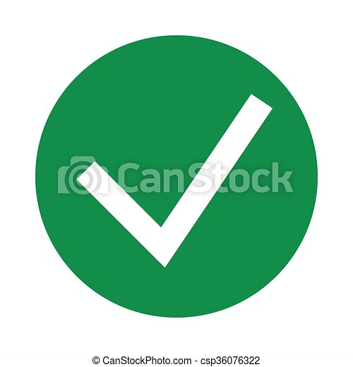 Green tick, check mark icon, simple style  - csp36076322