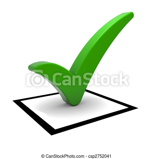 Green Tick Symbol Check Box With Green Check Mark Isolated