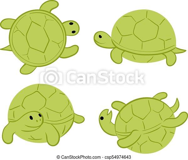 Cartoon Green Tortoises Walking Swiming Upside Down
