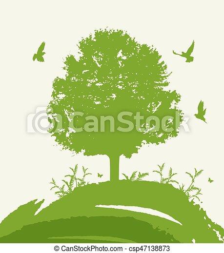 Green tree and birds. - csp47138873
