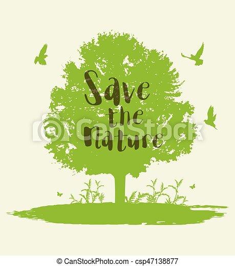 Green tree and birds. - csp47138877