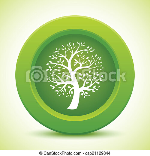 Green tree button - csp21129844