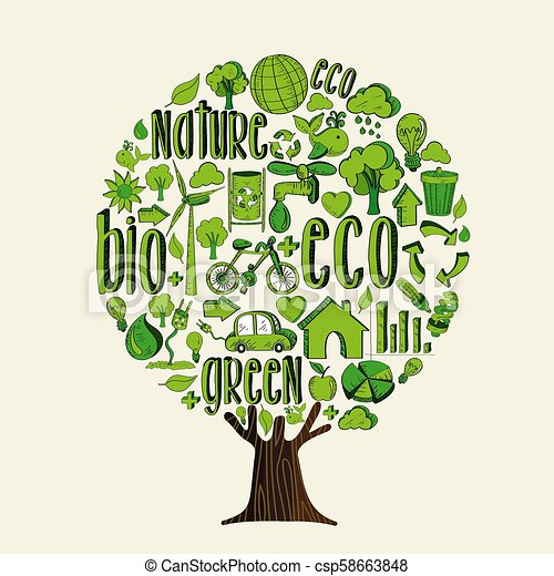 Green Tree For Environment Help And Eco Concept