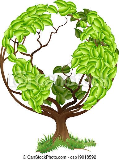 Green Tree Globe Earth World Concep - csp19018592