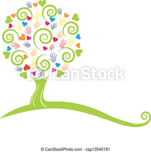 Green tree , hands and hearts logo - csp13540181