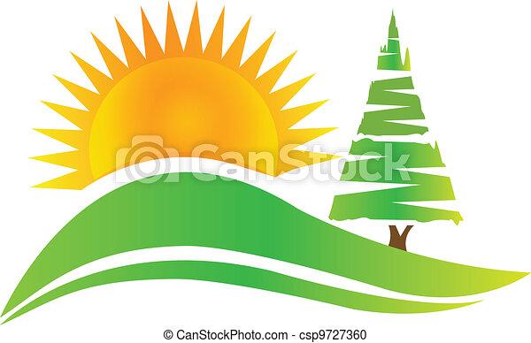 Green tree -hills and sun logo - csp9727360