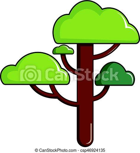 Green tree icon, cartoon style - csp46924135