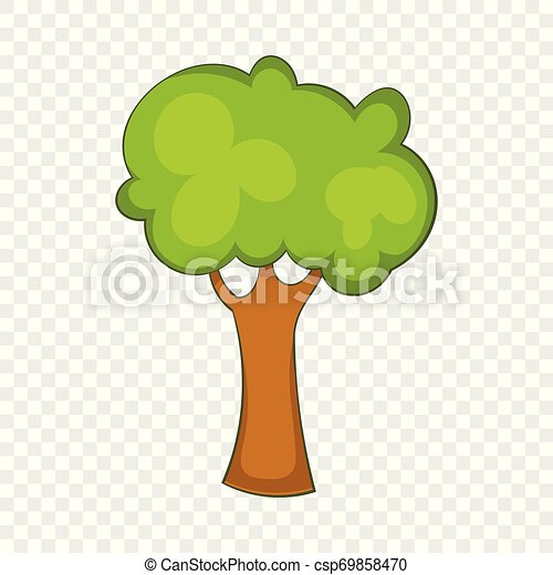 Green tree icon, cartoon style - csp69858470