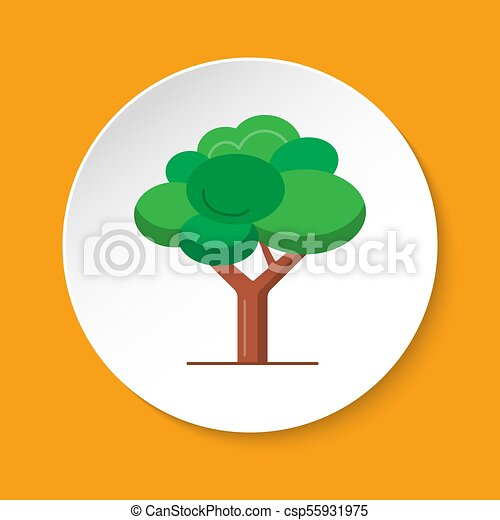 Green tree icon in flat style on round button - csp55931975
