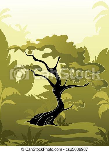 green tree in jungle - csp5006987
