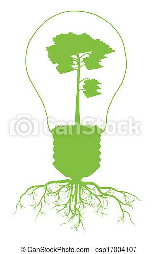 Green Tree In Light Bulb Symbol Of Renewable Energy Vector