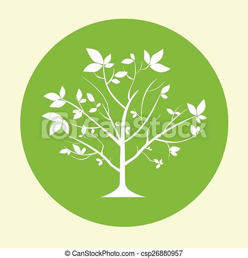green tree logo flat circle icon vector - csp26880957