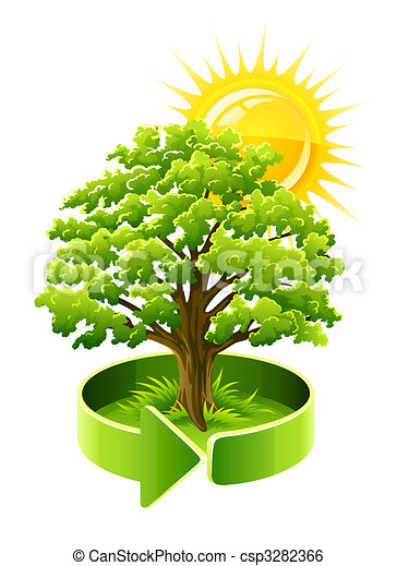 green tree oak as ecology symbol - csp3282366