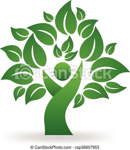 Green tree people logo vector - csp36607953
