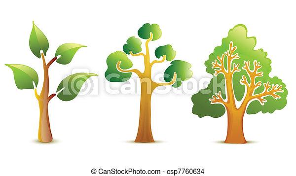 Green tree vector icons - csp7760634
