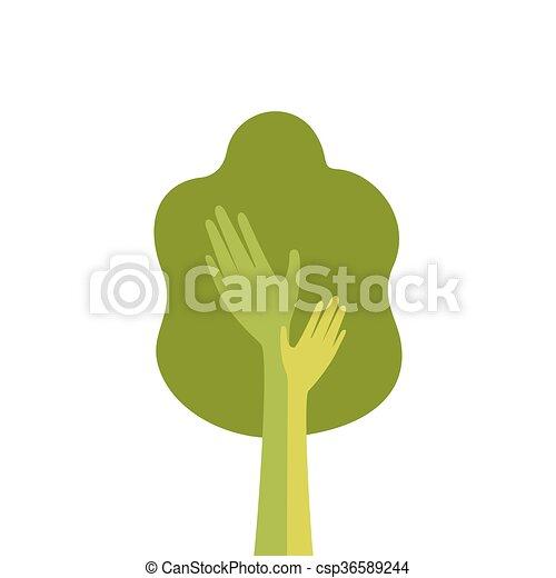 Green Tree With Hand Logo Icon Flat - csp36589244
