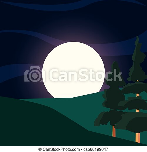 green trees hills moon natural landscape - csp68199047