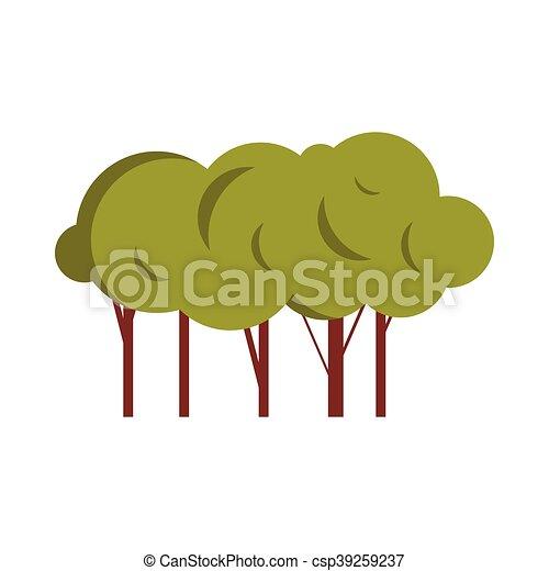 Green trees icon, flat style - csp39259237