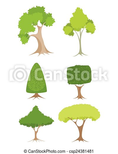 Green trees set - csp24381481
