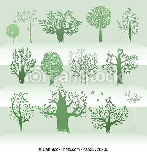 green trees set - csp23728200