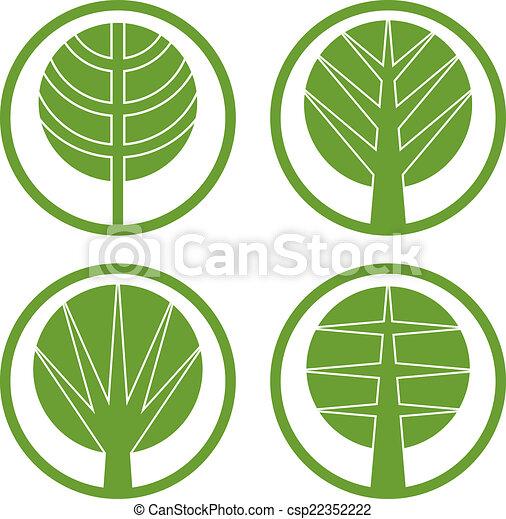 Green trees vector round icon set. - csp22352222