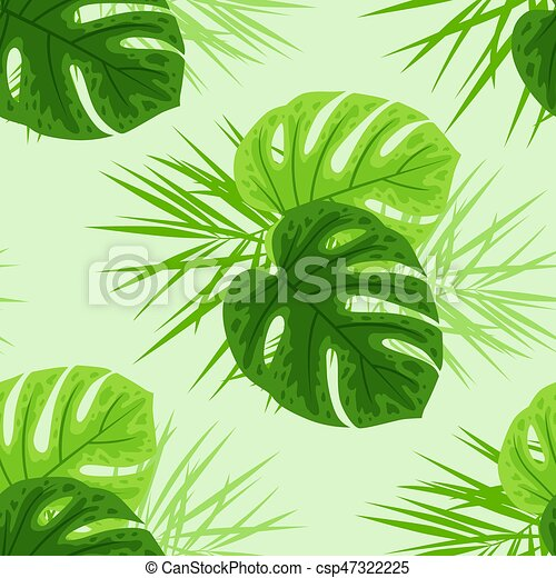 Green tropical leaves - csp47322225