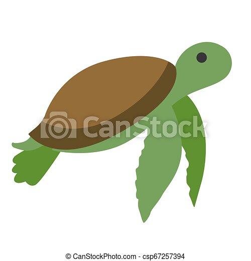green turtle flat illustration - csp67257394