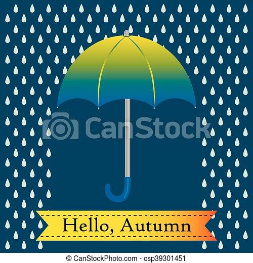 Green umbrella with rain drops - csp39301451