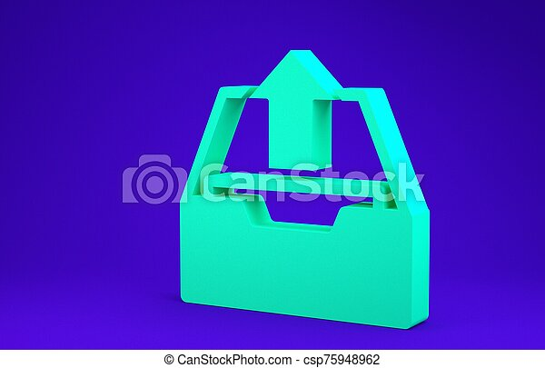 Green Upload inbox icon isolated on blue background. Extract files from archive. Minimalism concept. 3d illustration 3D render - csp75948962